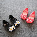 Lovely baby flower shoes cute black and red rubber bottom shoes 2016 summer jelly shoes