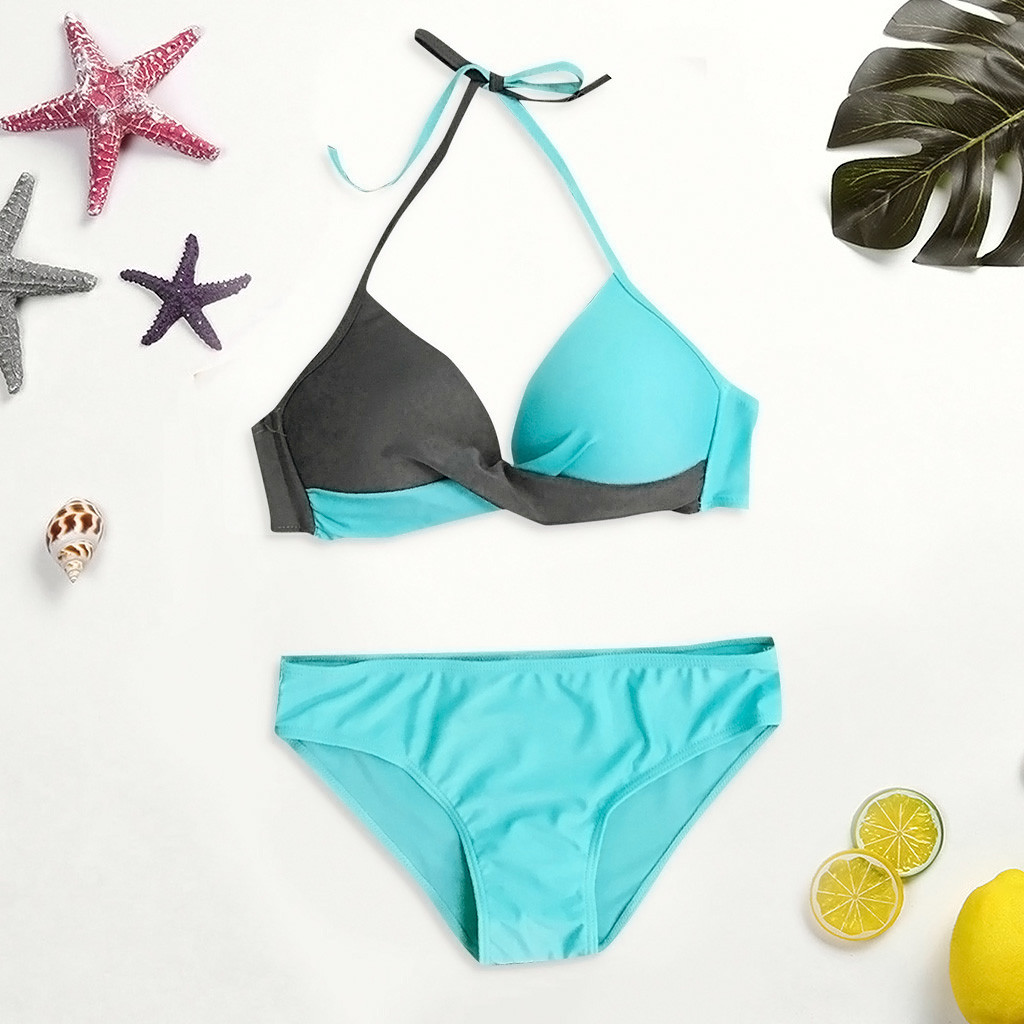 Sexy Bikinis Women Swimsuit High Waisted Bathing Suits Swim Halter Push Up Bikini Set Pachwork Plus Size Swimwear Beachwear #815 4