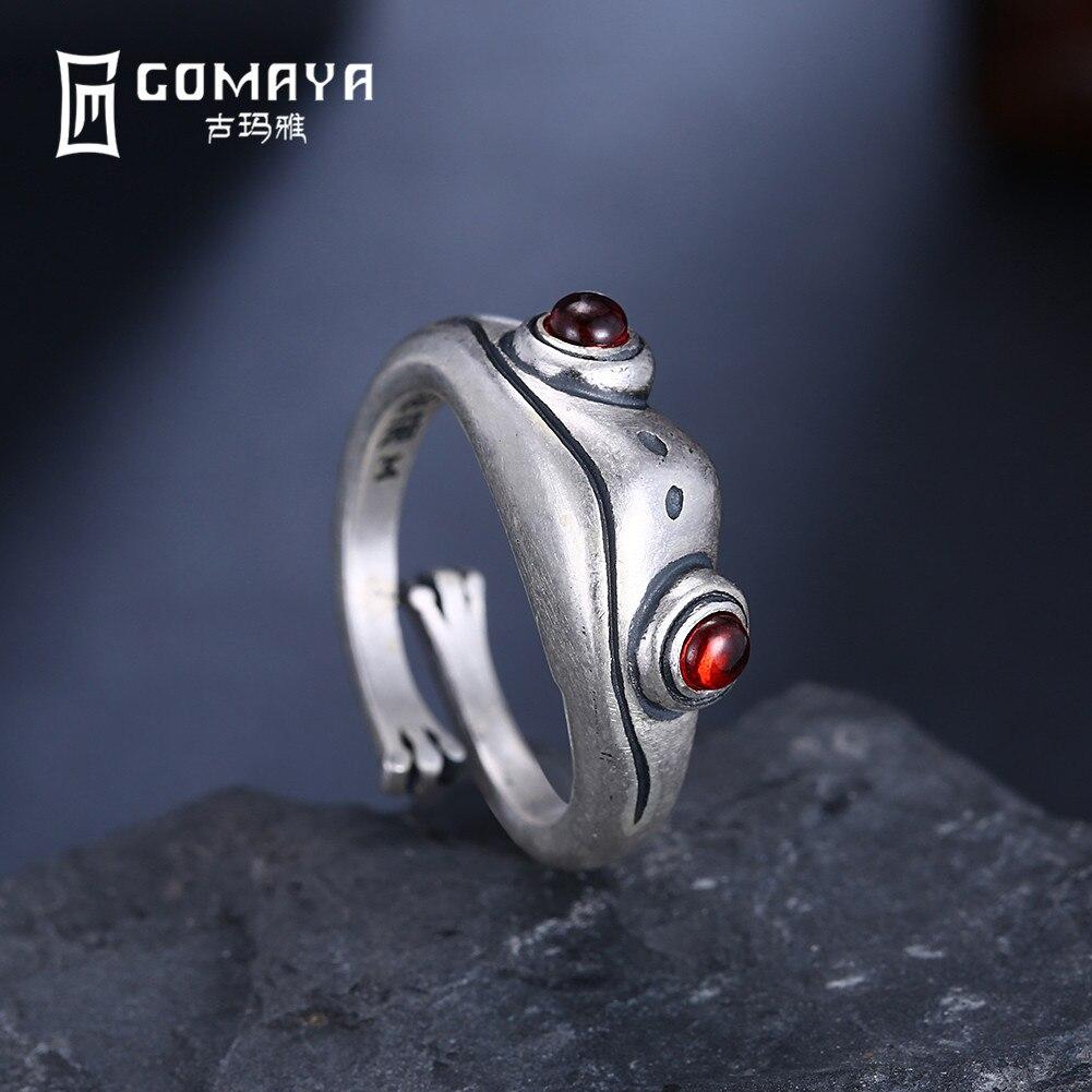 GOMAYA Real 925 Sterling Silver Frog Vintage Rings