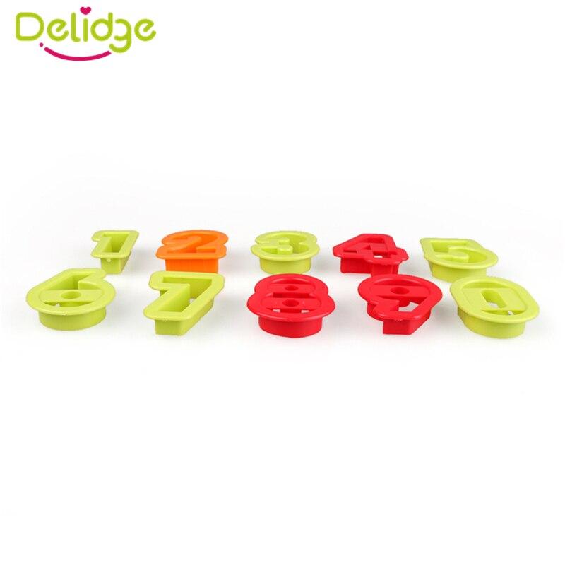 Delidge 10 Pcs/Set 0-9 Number Shape Cookie Molds Random Color Plastic Figure Cake Cutter Number Cookie Baking Decorating Tool