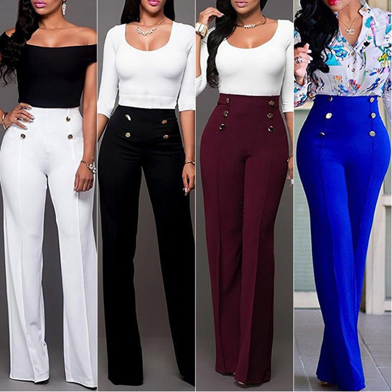 ZOGAA Women Fashion   Wide     Leg     Pants   Strech Trousers Ladies Flared Loose High Waist Slacks Female Solid Color Suit Straight   Pants