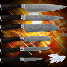 Kitchenware paring utility 2*santoku slicing chef kitchen knives stainless steel Damascus flowing sand pattern new cooking tools