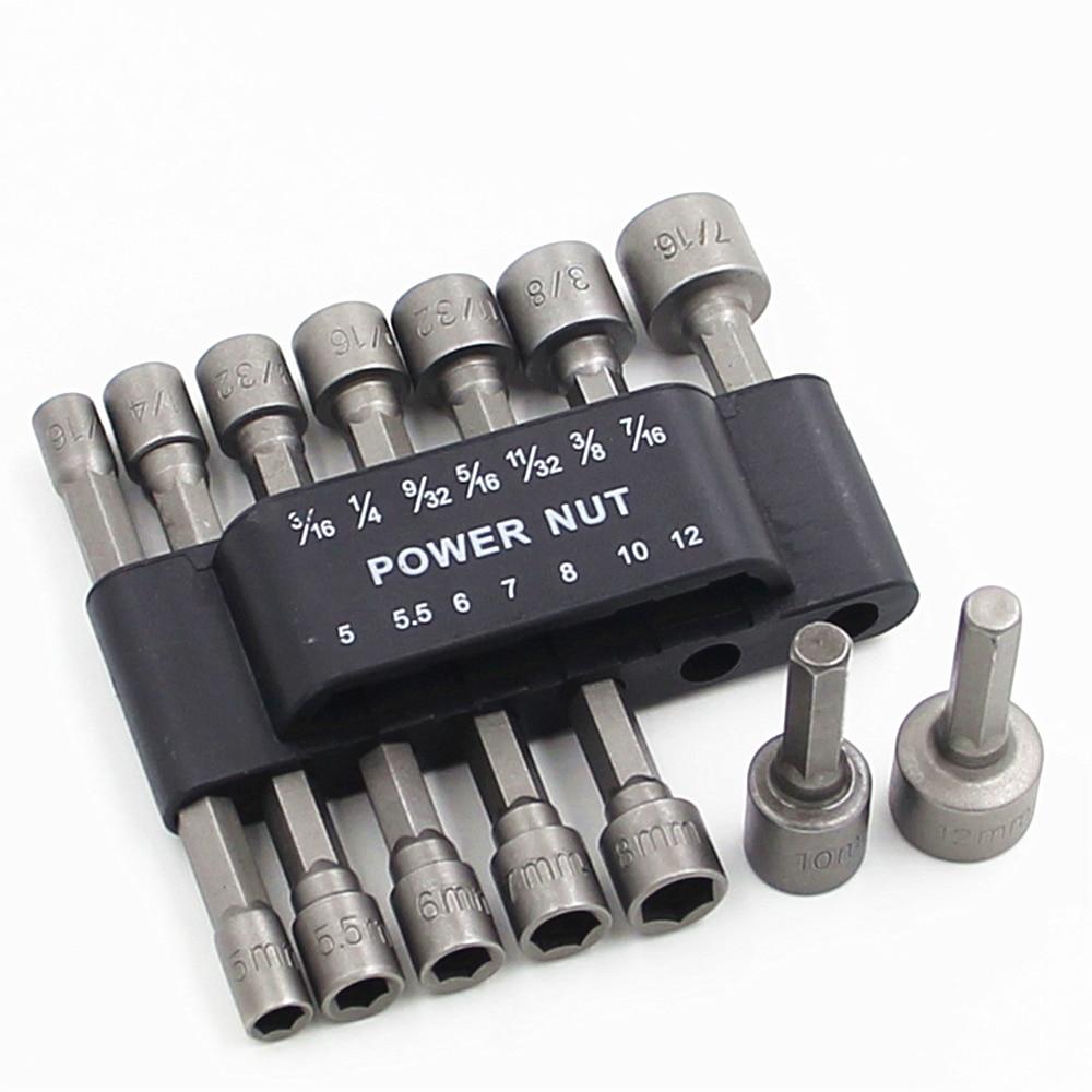1/4 Inch Hex Shank Quick-Change Screwdrivers Nutdriver 14pcs/set Power Nut Driver Drill Bit SAE Metric Socket Bits Wrench Screw