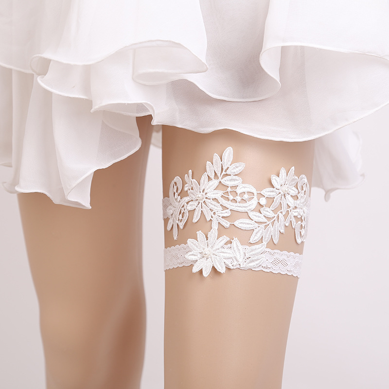 Wedding Leg Garter: Wedding Garters White/Blue Lace Embroidery Flower Sexy