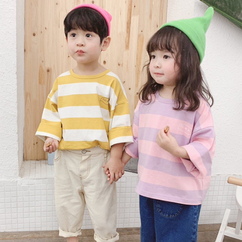 Spring Children Boys Girls Long Sleeves Stripe T-Shirts Letter Printing Children's Shirt Baby Clothes Casual Boys Girls Tops(China)