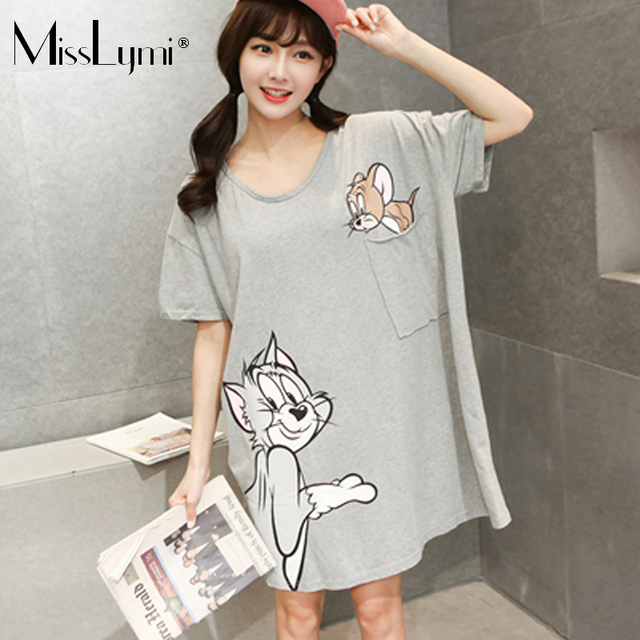 MissLymi Plus Size Women T-shirt 2017 New Summer Fashion Printed Mouse Cats O-Neck Big Pocket Kawaii Loose Short-Sleeved T-shirt