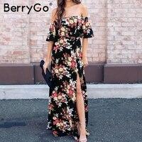 BerryGo Ruffle Flower Print Summer Dress Women Off Shoulder Boho Beach Dress Sexy High Split Long