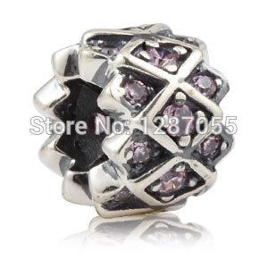 2014 New 925 sterling silver beads for women charms Purple Rhinestones Jewelry fit pandora DIY necklaces & bracelets