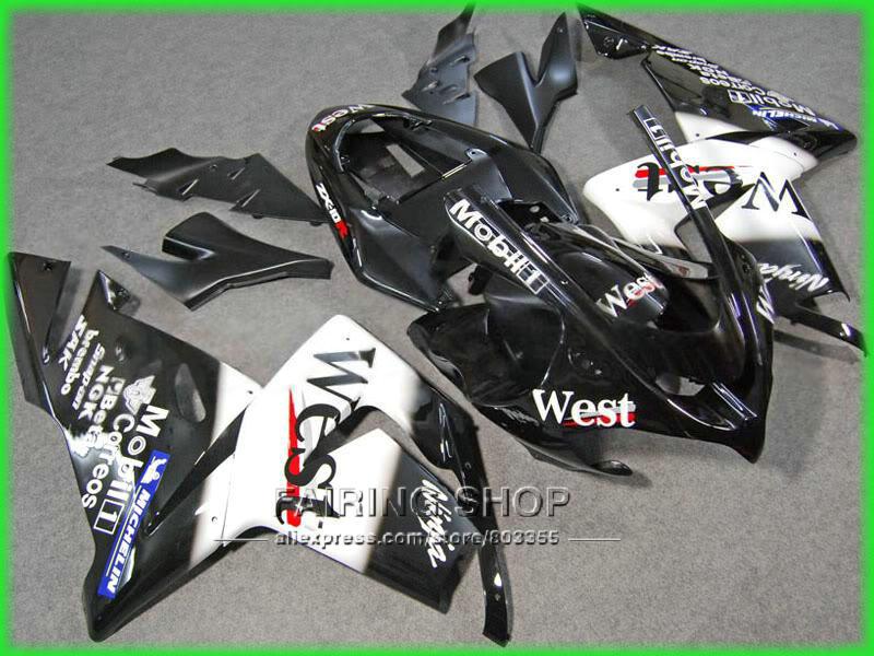 Low price Balck Fairings For Kawasaki Ninja zx10r zx-10r 2004 2005 04 05 100%fit Injection molding WEST Fairing kit n10