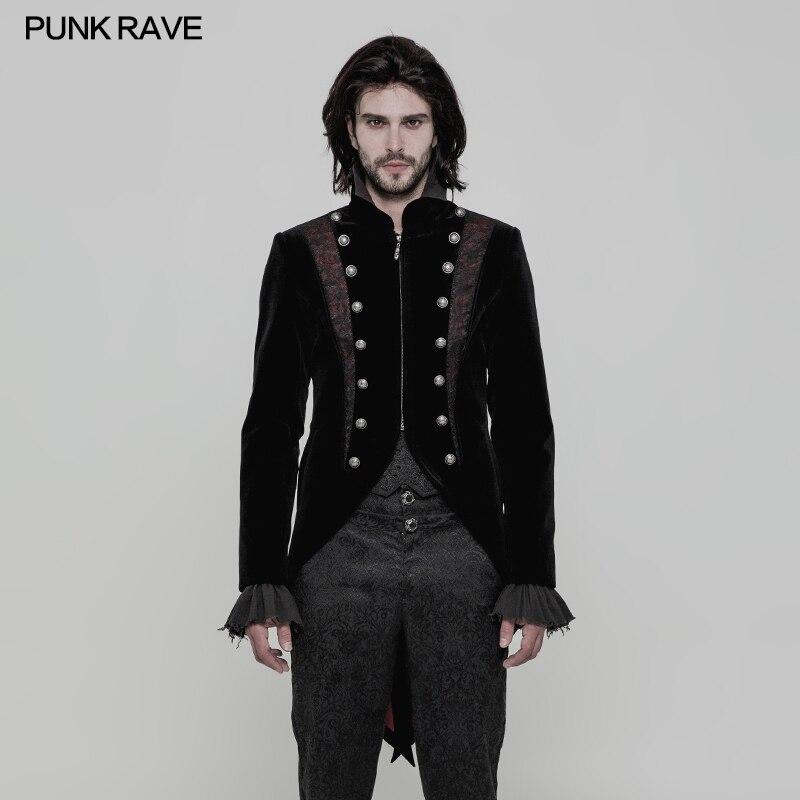 Панк рейв Готический Мода Visual Kei Винтаж вечерние Ретро викторианской фрак куртка WY857