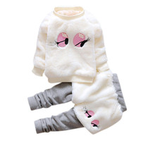 baby girls clothes set 2016 Cartoon Woolen Fur Winter Warm Set Thick Coat +Pants Clothes toddler girl clothing ropa mujer great