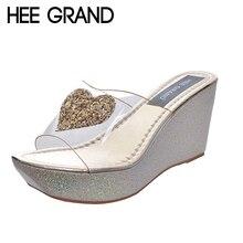 Hee Grand/брендовые Летние прозрачный верхний Сексуальная Свежий женские шлепанцы на платформе блеск женская обувь со стразами XWZ2333