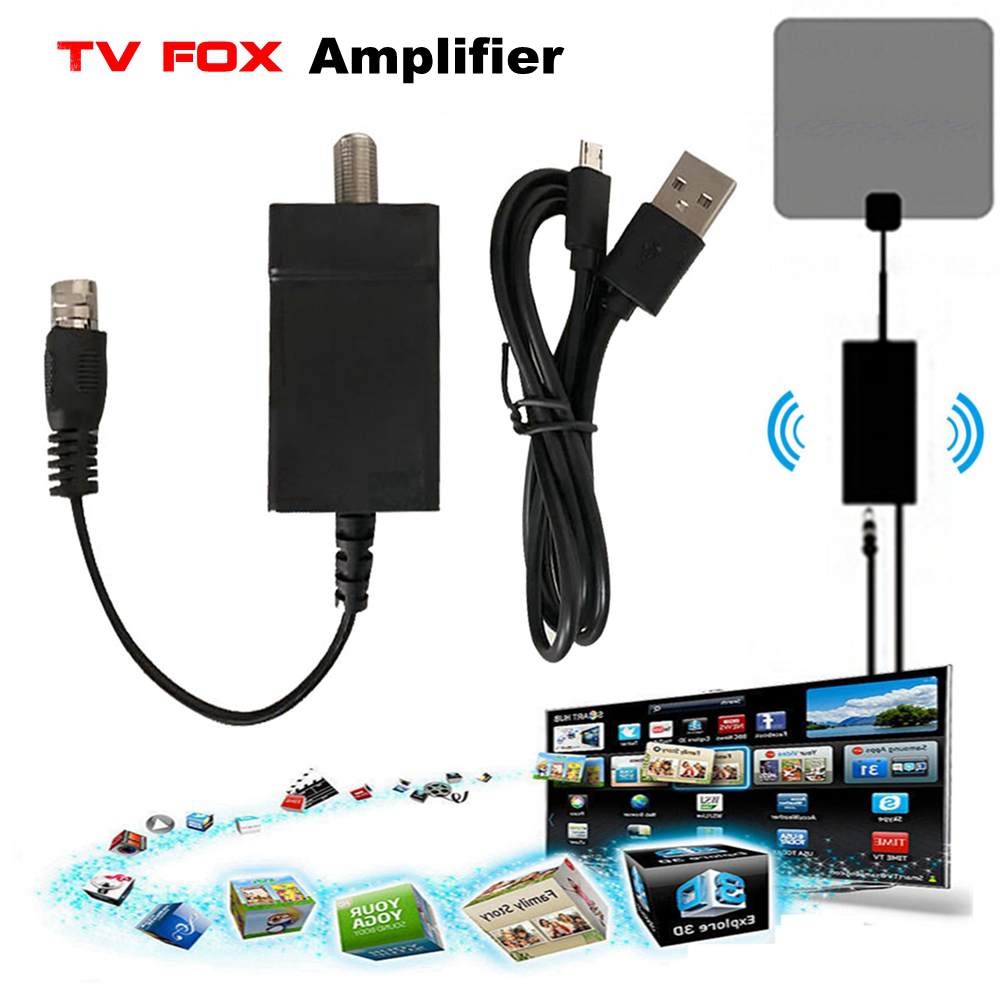 Digital TV Antenna Signal Amplifier Booster Indoor HDTV DTV TVFox Adapter DVB-T DVB-T2 ATSC PAL TV Fox Antena Aerial Amplifier