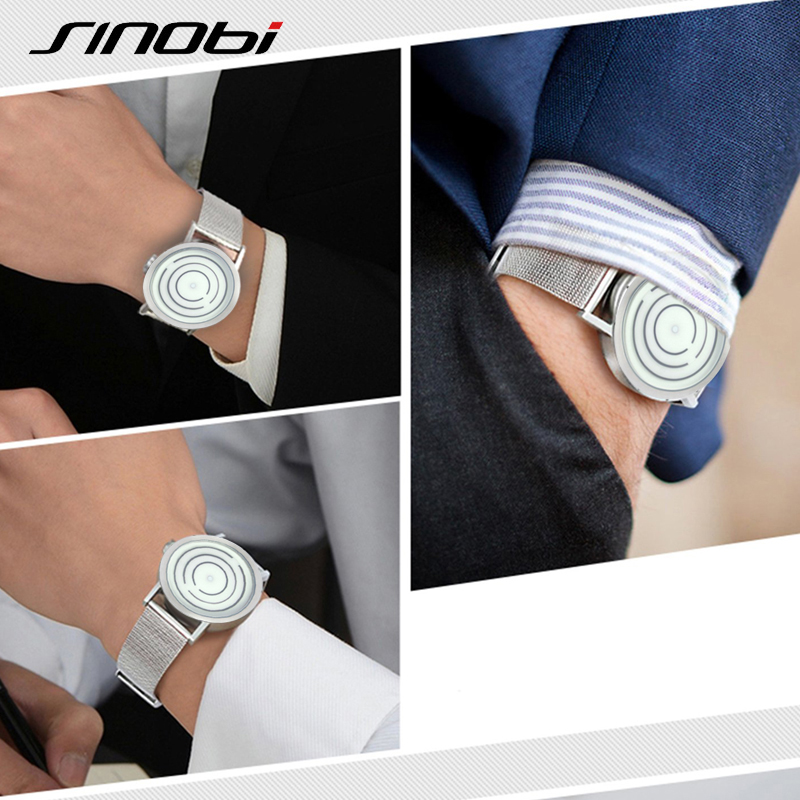 SINOBI Top Brand Luxury Watch Män Stainless Steel Mesh Strap Maze - Herrklockor - Foto 5