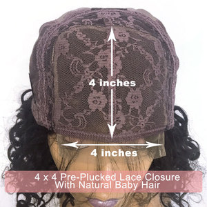 Image 4 - Ali FumiQueen Lace Front Wig With Baby Hair 180%/250% Density Peruvian Straight Non Remy Hair 4x4 Lace Closure wig Free Shipping