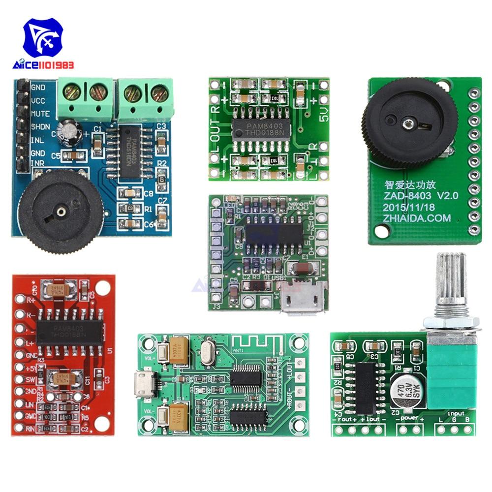 PAM8403 Class D DC 5V 2 Channel Micro USB Digital Audio Amplifier Board Module 2*3W Volume Control Switch Stereo Amplifier Board