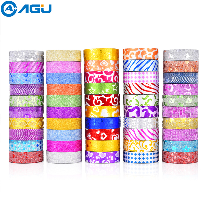 AAGU 50PCS Glitter Washi Tape Set 10 Soild Colors And 40 Rolls Random Colors Adhesive Tape Decorative Paper Tape For DIY Making kitmmm6200341296pac103620 value kit pacon riverside construction paper pac103620 and highland invisible permanent mending tape mmm6200341296