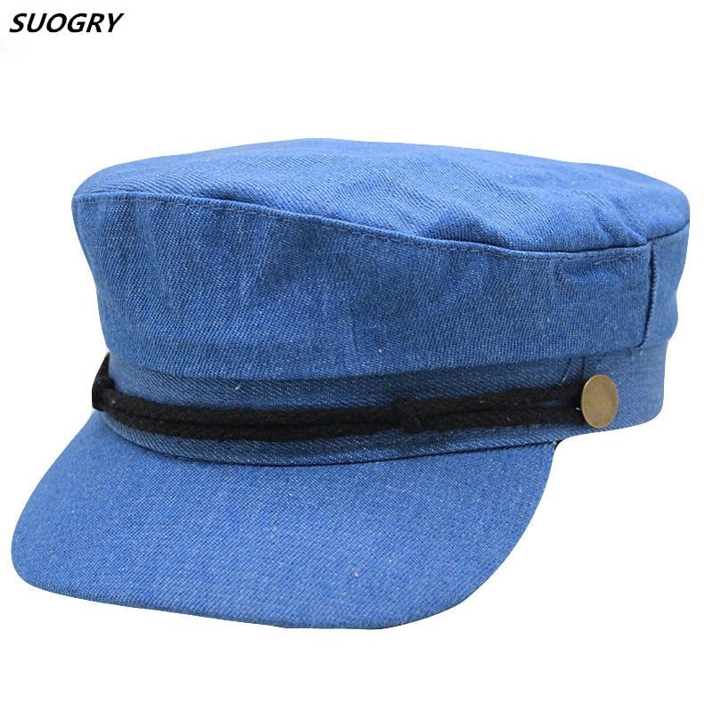 NEW Cowboy Octagonal Hats For Women Flat Military Baseball Cap Ladies Solid Caps Metal Casual Berets Hat Gorra Militar