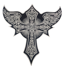 Custom Patch CROSS WITH Angel Wings Rider Motorcycle Embroidered Black twill fabric DIY Iron On Back of Jacket Patch Clothes