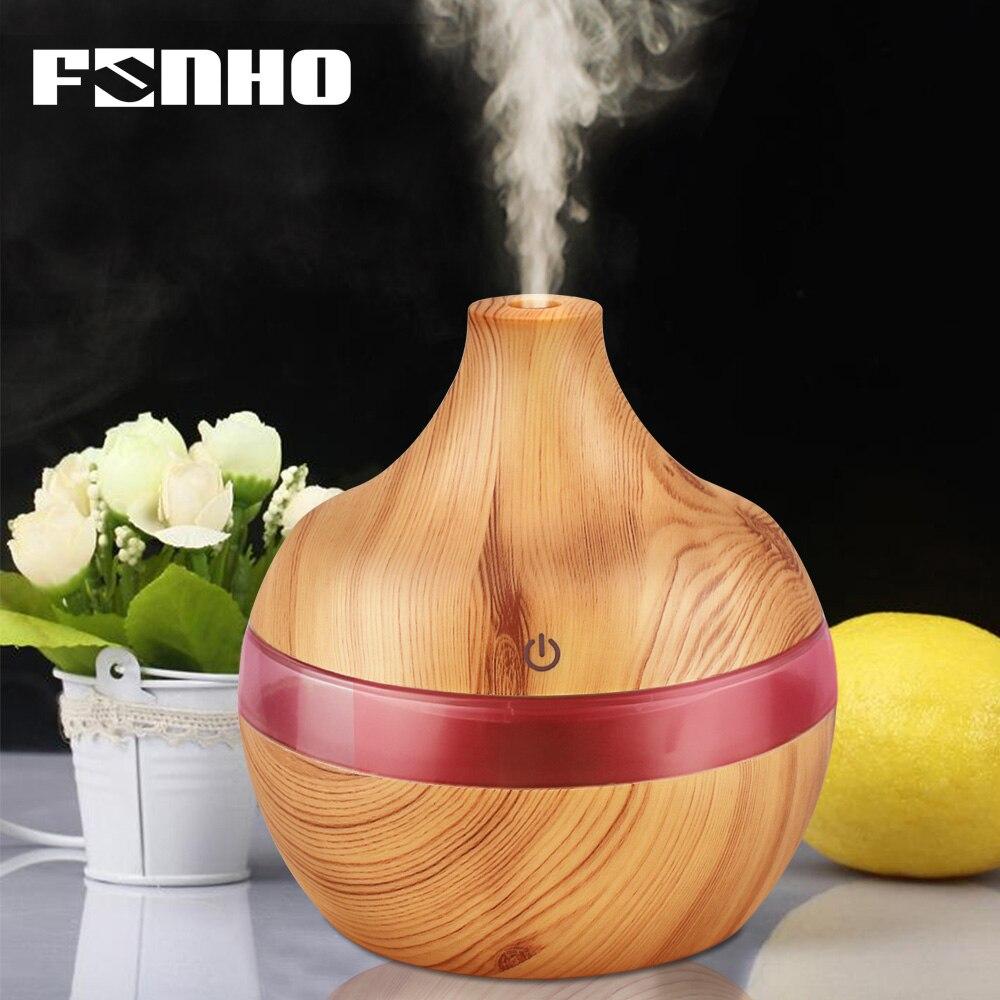 FUNHO 300 ml Aroma de aire Humidificador ultrasónico aromaterapia difusor de aceite esencial noche luz Humidificador nebulizador para casa 25 S