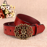 FURONG Fashion Women Belt Female Hollow Out Flower Design Press Buckle Leather Waist Belts Real Cow Leather Belt For Women