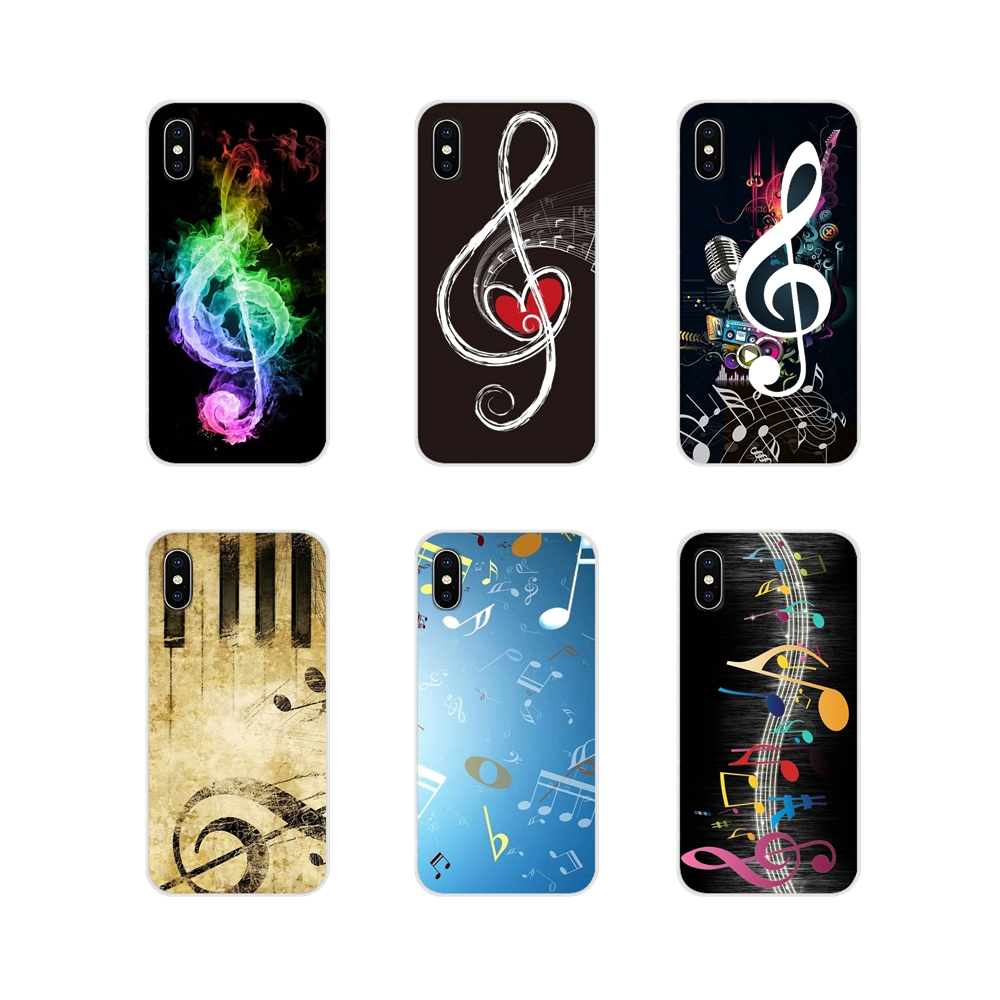 For Apple iPhone X XR XS MAX 4 4S 5 5S 5C SE 6 6S 7 8 Plus ipod touch 5 6 Painting Musical Notes Accessories Phone Shell Covers