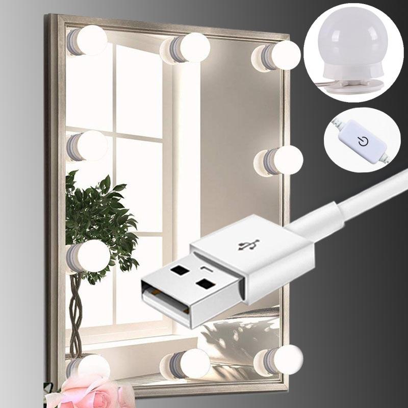 Miroir de maquillage à LED ampoule Hollywood vanité lumières Stepless Dimmable applique murale 6 8 10 ampoules Kit pour coiffeuse