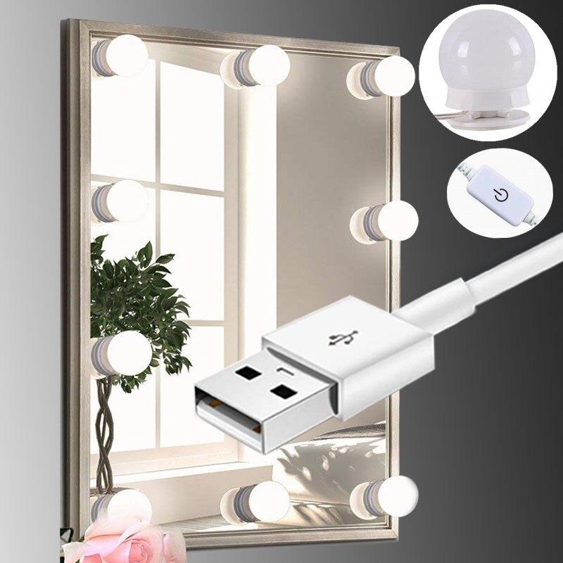 Maquiagem LEVOU Espelho de Luz da Lâmpada Luzes de Vaidade de Hollywood Stepless Dimmable Lâmpada de Parede 6 8 10 Lâmpadas Kit para Penteadeira