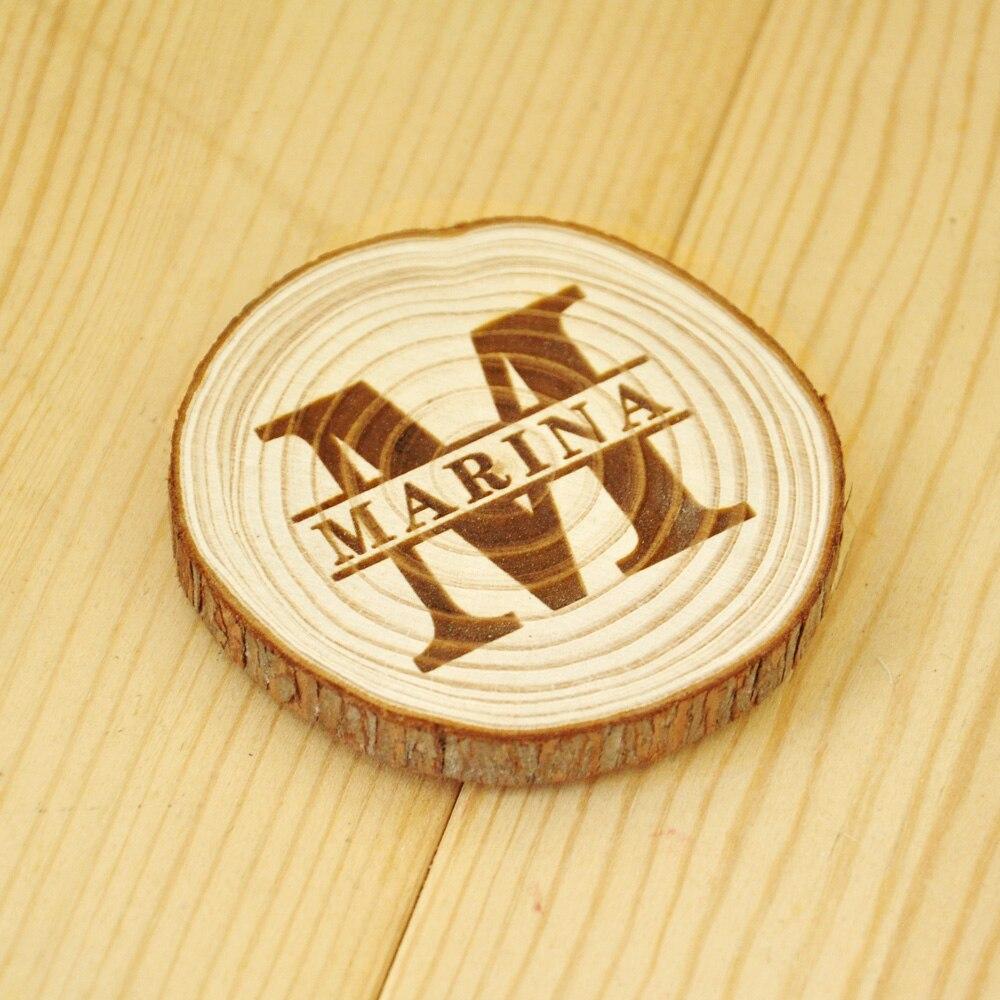 Personalized name ornaments - Personalized Wood Slice Magnet Rustic Wood Slice Ornament Custom Name Fridge Magnet Tree