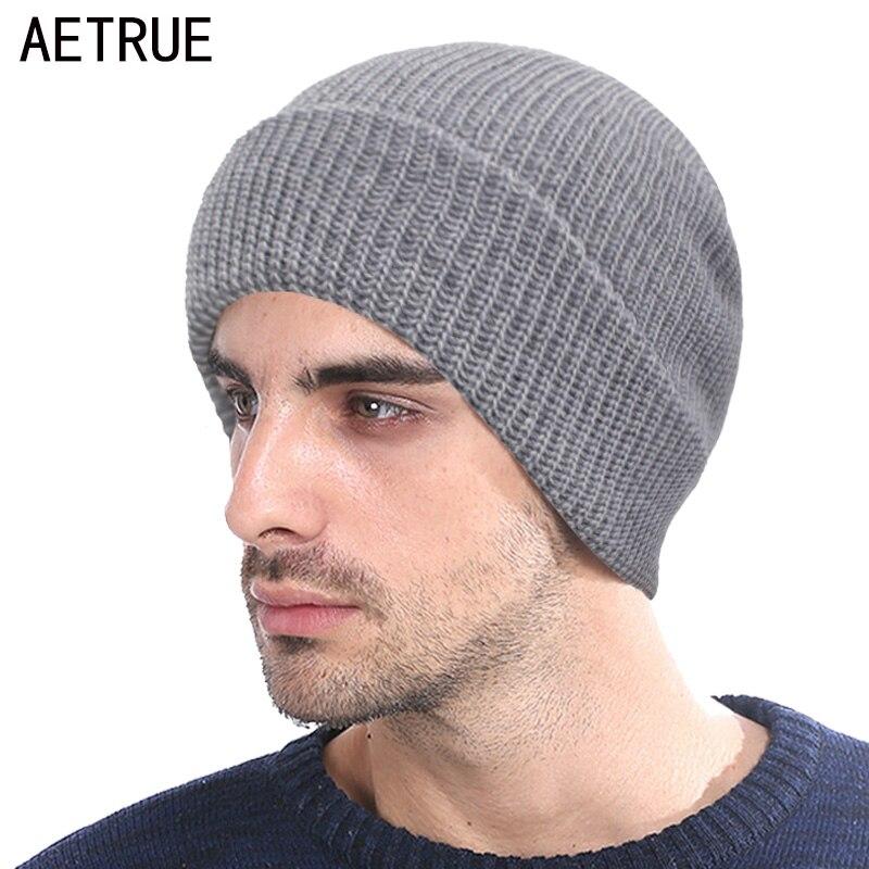 AETRUE Winter Knitted Hat Men   Skullies     Beanies   Winter Hats For Men Women Bonnet Fashion Caps Mask Warm Male Solid   Beanie   Hat
