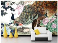 3d wall murals wallpaper Flower open rich Chinese painting peacock peony drawing strokes wall