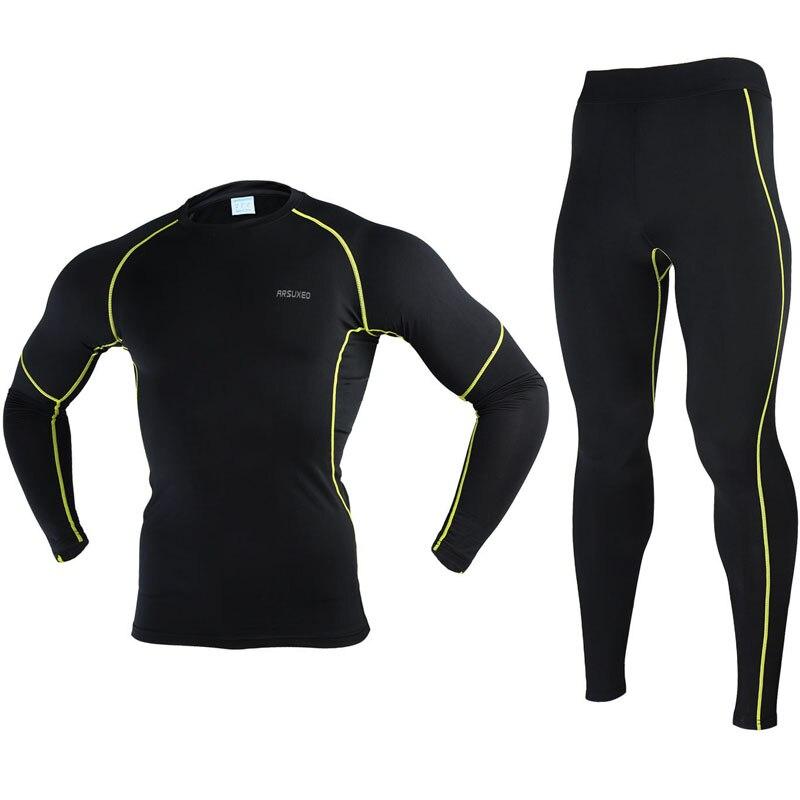 Цена за Arsuxeo велоспорт джерси установить 2017 толстые мужчины велосипед сжатия фитнес бег рубашка брюки баскетбол костюмы одежда n56