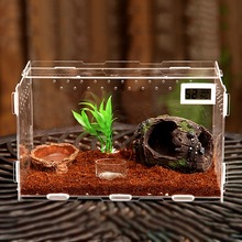Reptile Vivarium Kits Magnet Latch Thermometer Hide-out Cave Fake Plant Gecko Lizard Snake Tarantula panoramic Acrylic new box