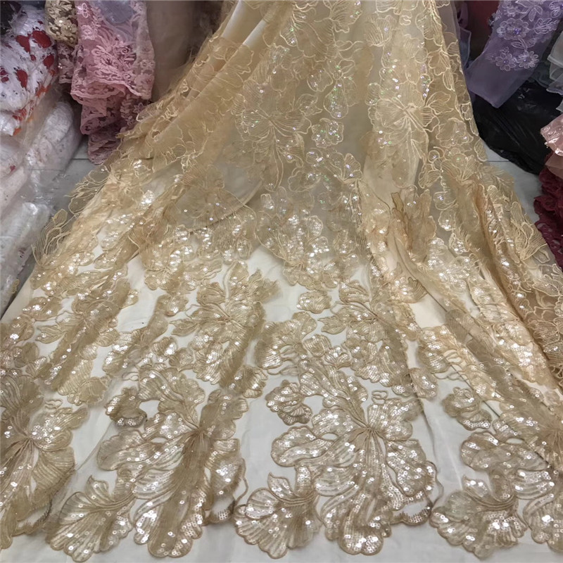 Gold Sequins Lace For Wedding Dress African High Quality Lace Latest African Laces with gold Sequin