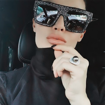 Women Sunglasses Cat eye Mirror Retro Diamonds Fashion Shades