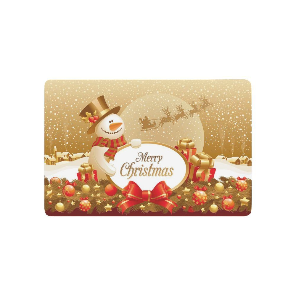 Winter Snow Snowflake Anti-slip Door Mat Home Decor, Snowman and Christmas Gift Indoor Outdoor Entrance Doormat Rubber Backing
