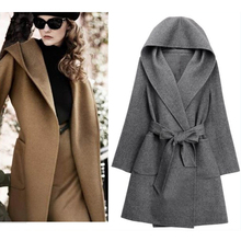 2016 Autumn Jacket Women Wool Blends Long Female Coat Slim Hooded Long Style Soild Woolen Blends Coat Women Jacket 50
