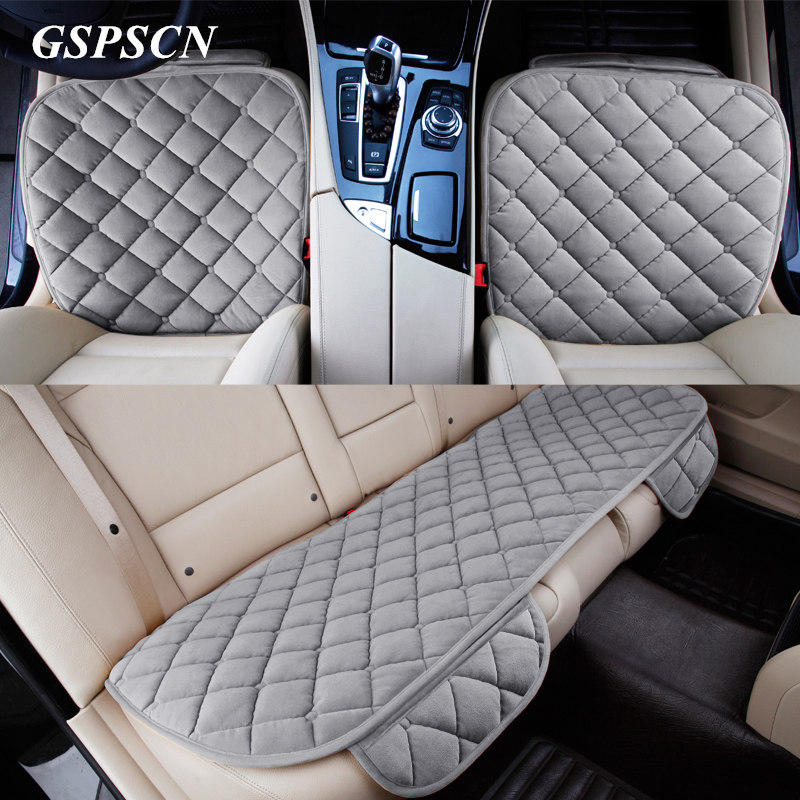 3Pcs/Set Car Supplies Square Style Luxurious Warm Car Seat Cover Cushion Winter Universal Front Back Seat Covers Car Chair Pad pillowcase classic style wave pattern car comfy back cushion cover