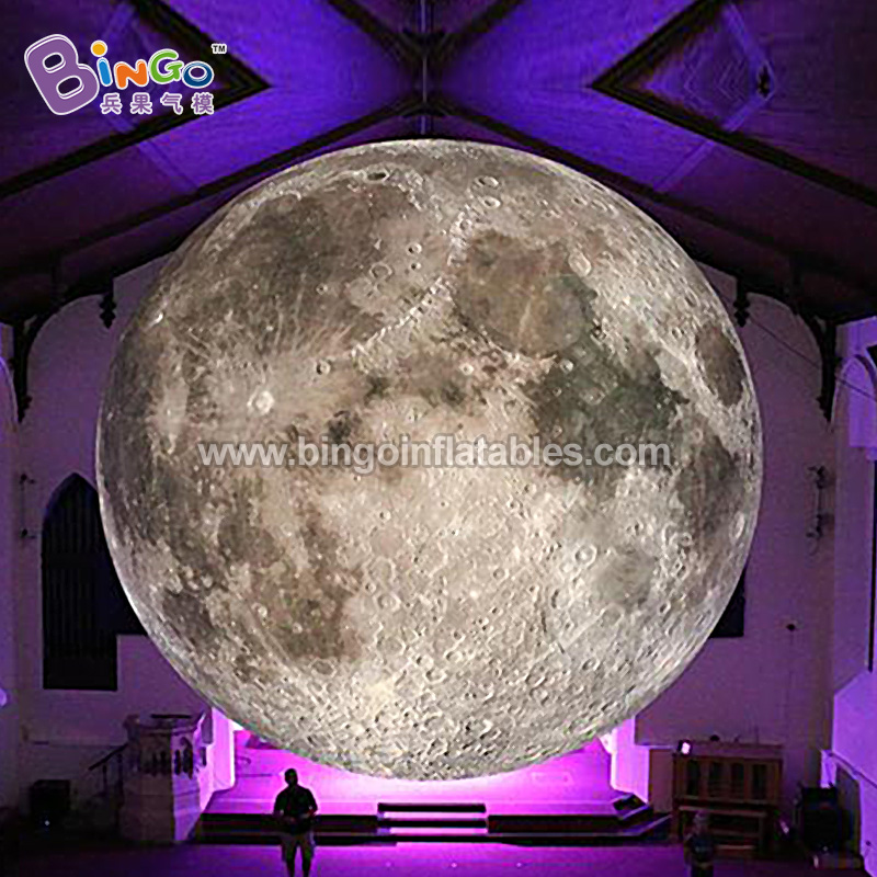 Free shipping 8M dia giant LED lighting inflatable hanging moon model blow up moon balloon for stage decoration toy planet giant inflatable balloon for decoration and advertisements