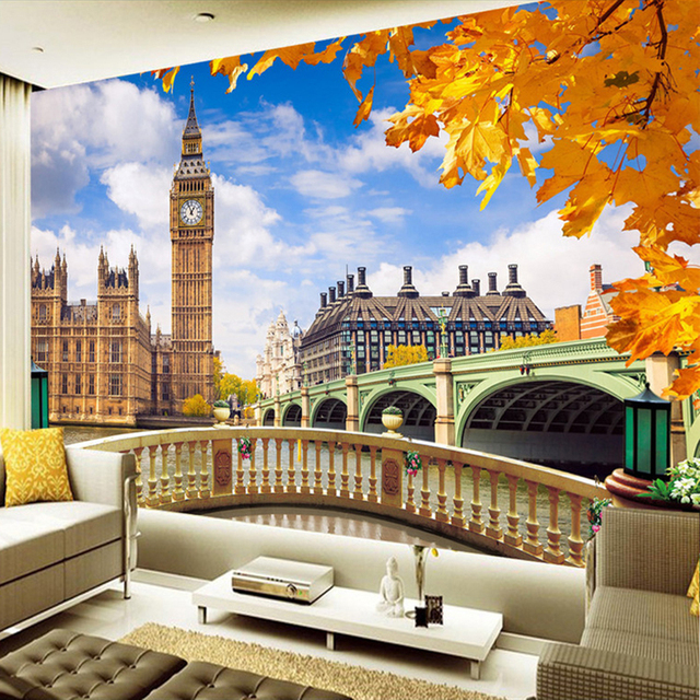 12084c69b مخصص جدارية خلفية لندن بيغ بن بناء المشهد 3D غرفة المعيشة أريكة التلفزيون  خلفية الصورة ورق