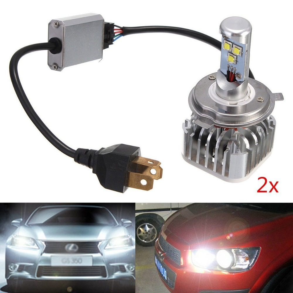 H4 60W Phare Voiture LED Etanche IP68 Antibrouillard 6000LM Ampoule Auto Camion Bateau Headlight Kit Vehicule Lampe DC 6-70V