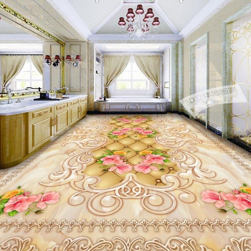 Free shipping Jade grain patterned 3D flooring waterproof wallpaper roll floor mural living room bedroom home decoration