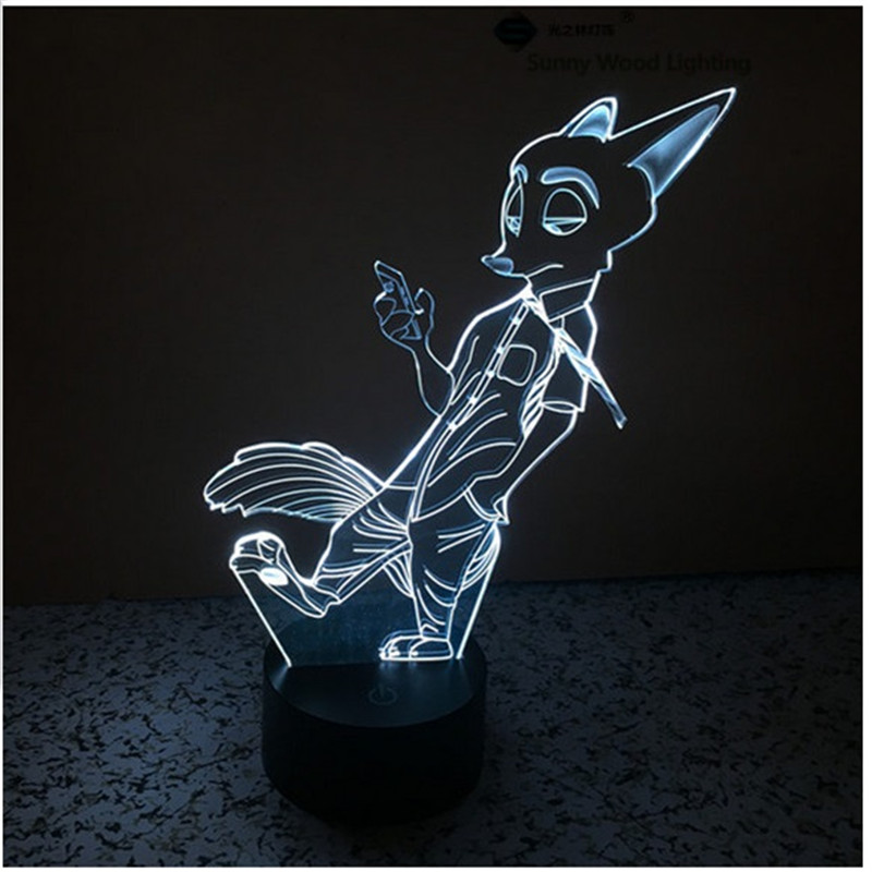 Nick Fox switch LED 3D lamp,Visual Illusion 7color changing 5V USB for laptop,Christmas cartoon toy lamp