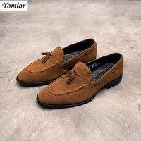 Yomior Mode Lässig New Echt Kuh Leder Schuhe Britischen Mens Kleid Oxfords Hochzeit Anzüge Formale Schuhe Atmungsaktiv Hohe Qualität