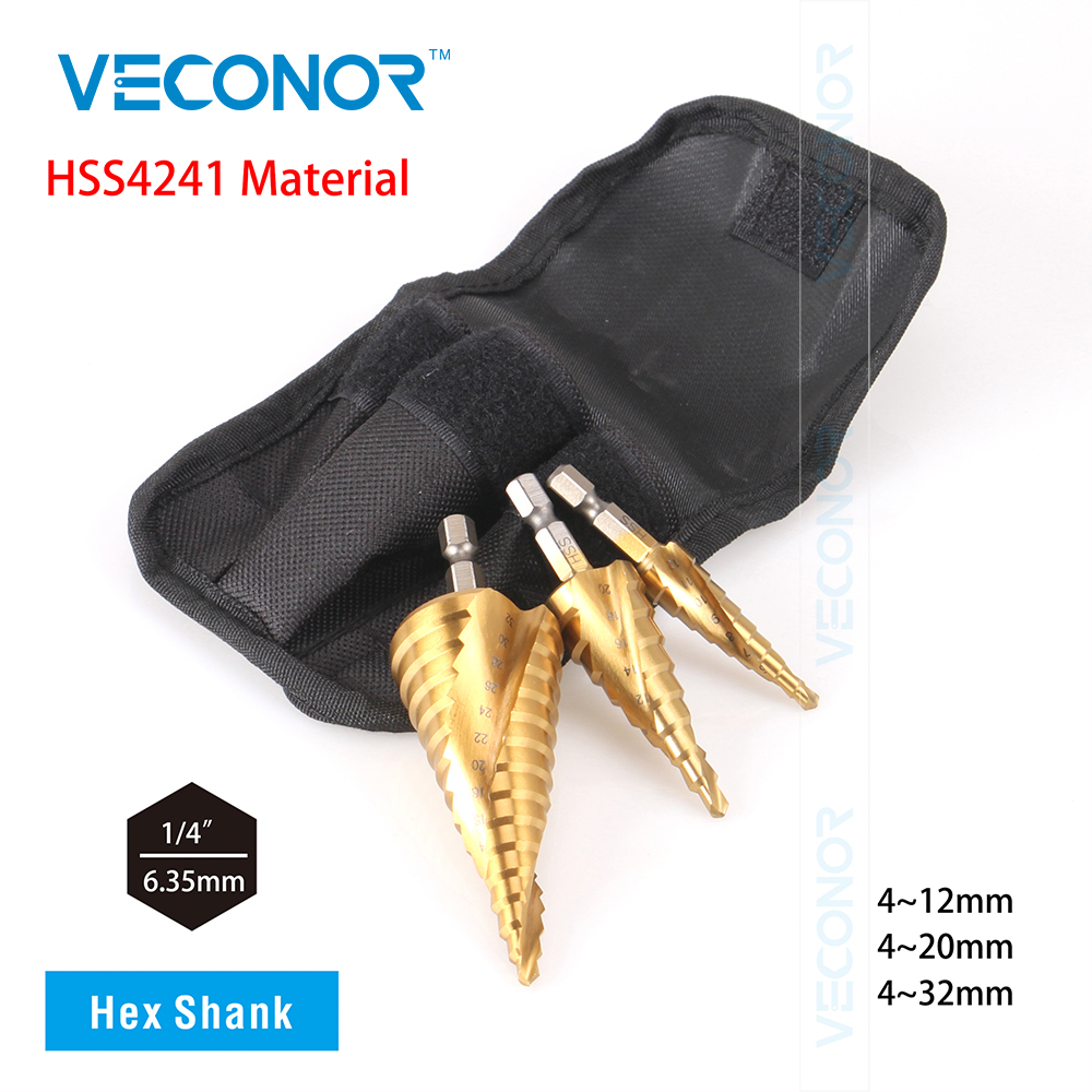 Veconor 3 pcs 4-12/20/32mm impact HSS step cone drill bit with double spiral flute design titanium nitride coated hole cutter to jelbo cone step drill hole tools countersink 3pc drill bit set power tools step drill bit for metal power tools set hole cutter