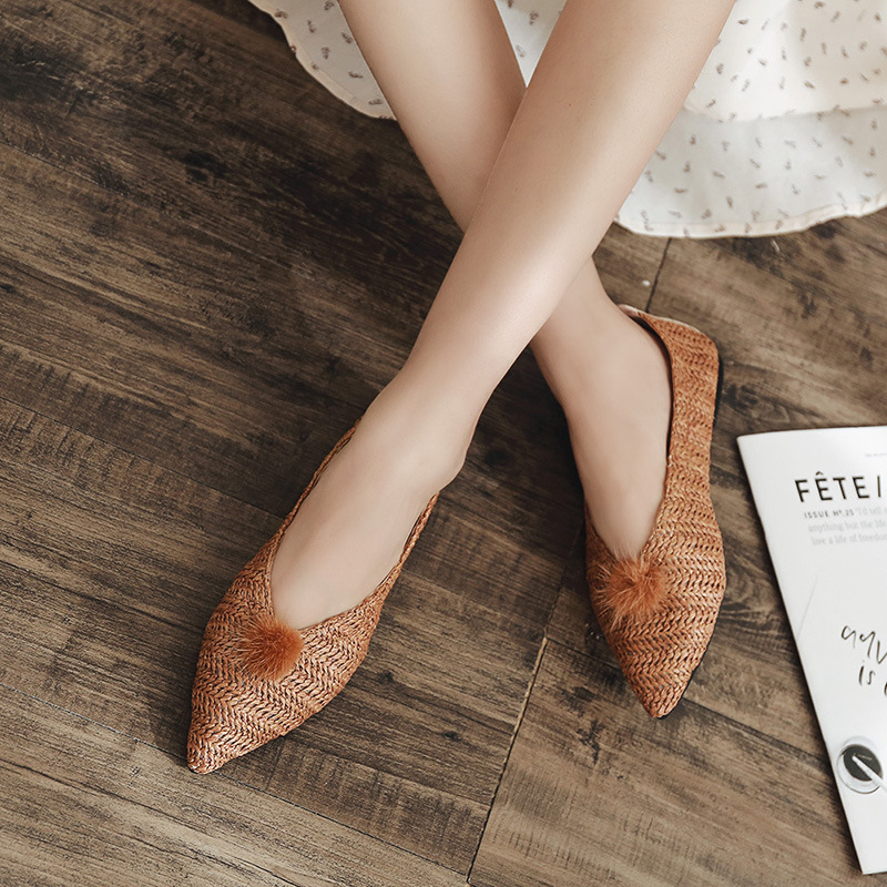 bleu Beige Fourrure Femmes Ins Sauvage Chaussures Paresseux 2018 Coréenne Automne kaki Plat Unique Boule Fond Explosion Pointu Tissé Modèles Casual Chaussures De FwffRHpq7x