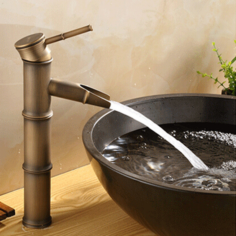 Latest Finest Worth Lavatory Faucet Br Bamboo Design Chilly Sizzling Water Single Lever Above Deck Basin Retro Excessive High Quality