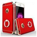 Anillo de dedo de lujo cubierta de la caja de la armadura para iphone 5 5s 6 6 s 6 más 6 s más 7 7 más Nuevo caso 3-en-1 Stand Estuche rígido Soporte p15