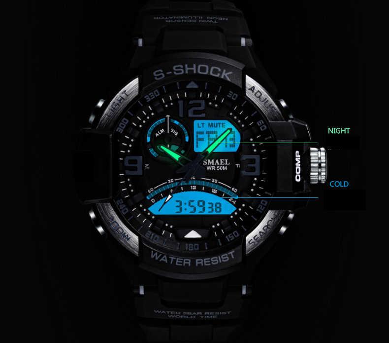 1257de7327c7 ... Smael moda deporte super cool hombres cuarzo digital Reloj hombres  Relojes deportivos marca de lujo LED ...