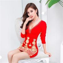 Осеннее и зимнее Новое модное женское платье для ночного клуба, тонкое, сексуальное платье с длинными рукавами и вышивкой